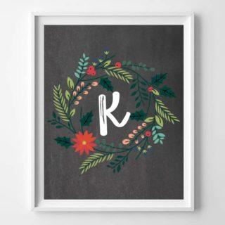 christmas initial printables