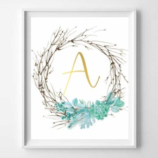 twig succulent initial printables
