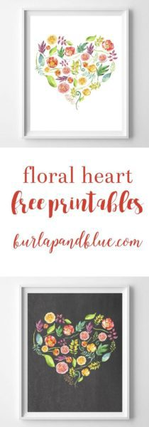 floral heart printables