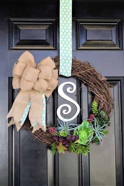 spring succulent wreath