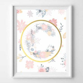 floral initial printable nursery art